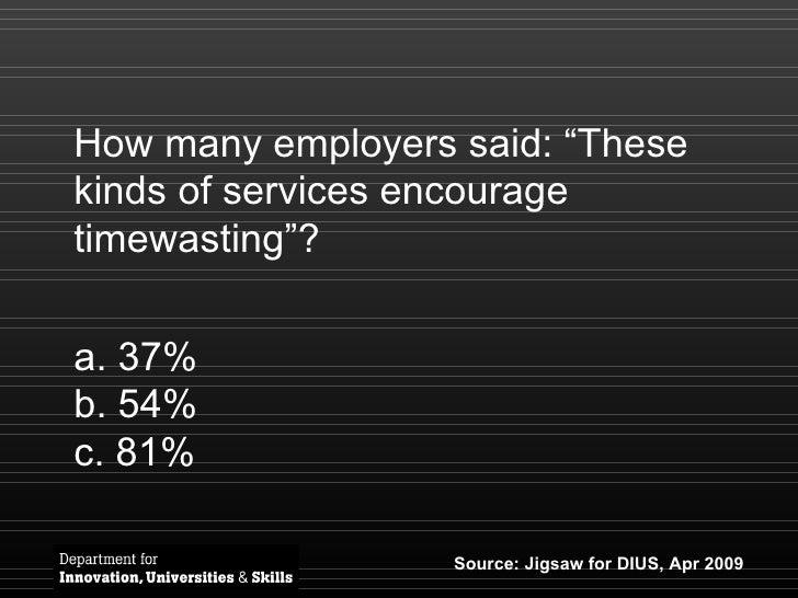 """How many employers said: """"These kinds of services encourage timewasting""""? <ul><li>37% </li></ul><ul><li>54% </li></ul><ul>..."""
