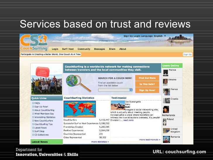 Services based on trust and reviews URL: couchsurfing.com