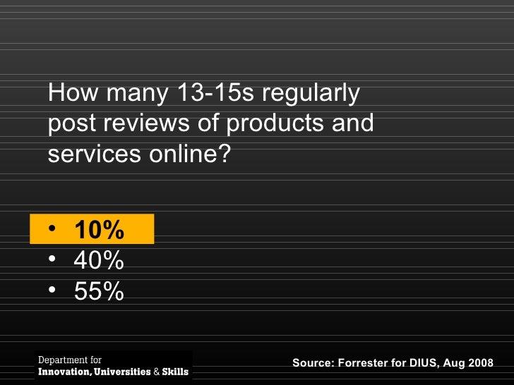 How many 13-15s regularly post reviews of products and services online? <ul><li>10% </li></ul><ul><li>40% </li></ul><ul><l...