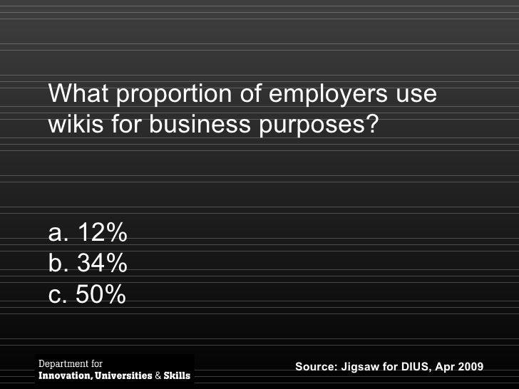 What proportion of employers use wikis for business purposes? <ul><li>12% </li></ul><ul><li>34% </li></ul><ul><li>50% </li...