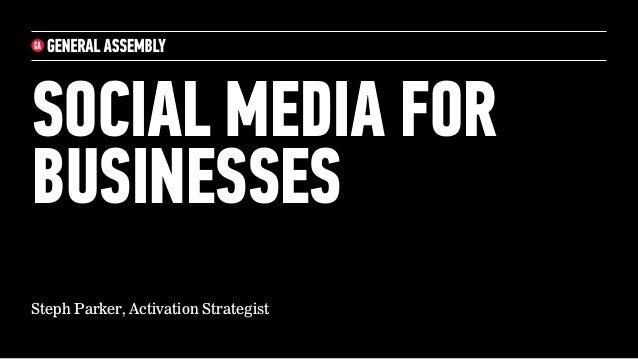 SOCIAL MEDIA FOR  BUSINESSES  Steph Parker, Activation Strategist