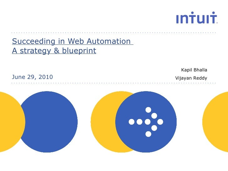 Succeeding in Web Automation  A strategy & blueprint June 29, 2010 Kapil Bhalla Vijayan Reddy
