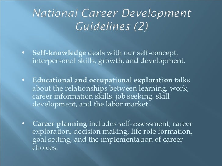 • Self-knowledge deals with our self-concept,  interpersonal skills, growth, and development.• Educational and occupationa...