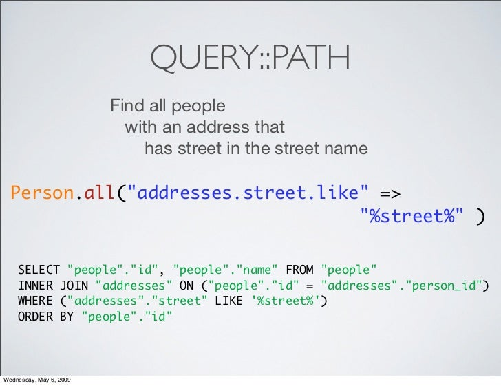 QUERY::PATH                          Find all people                            with an address that                      ...