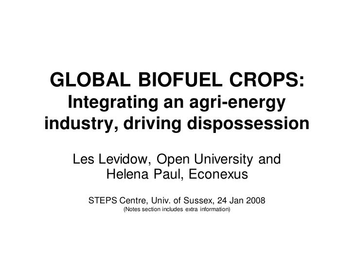 GLOBAL BIOFUEL CROPS:    Integrating an agri-energy industry, driving dispossession    Les Levidow, Open University and   ...