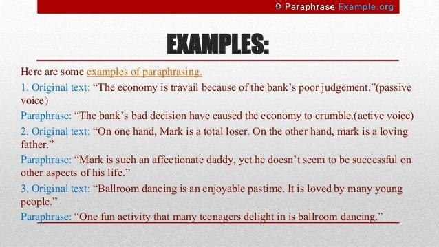 paraphrasing examples pdf