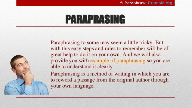Step And Rule For Paraphrasing With Examples Technique Example Skill