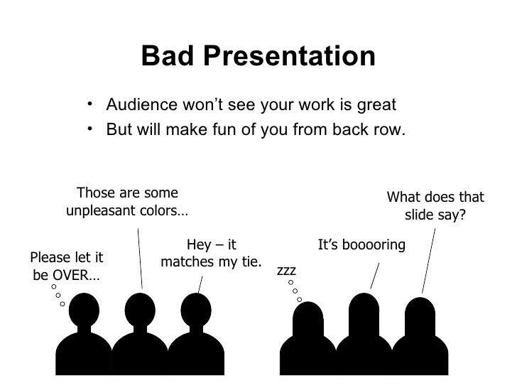 Bad Presentation <ul><li>Audience won't see your work is great </li></ul><ul><li>But will make fun of you from back row. <...