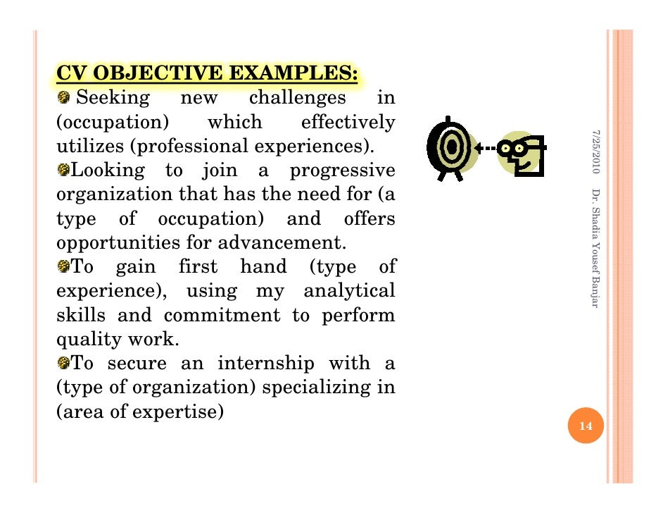 dr shadia yousef banjar 13 14 cv objective - Objective In Job Application