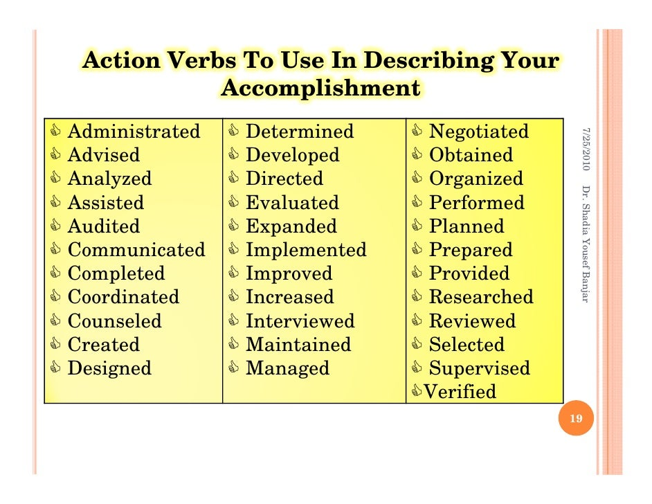 Fresh Essays | Action Verbs Used In Resume Writing