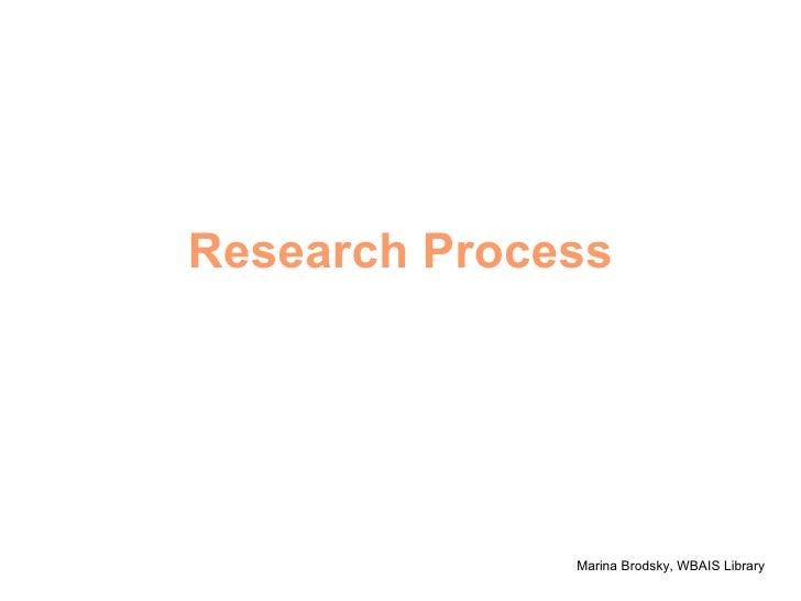Research Process Marina Brodsky, WBAIS Library