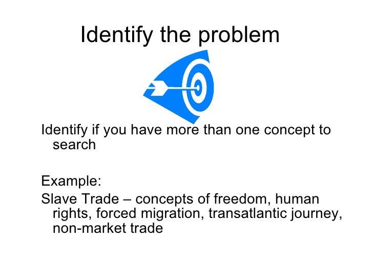 Identify the problem  <ul><ul><li>Identify if you have more than one concept to search  </li></ul></ul><ul><ul><li>Example...