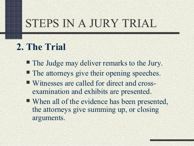 steps in a trial Stages of a criminal trial the trial is perhaps the best-known part of the criminal process, but it is only one of many stages of a criminal casevery few criminal cases ever go to trial.