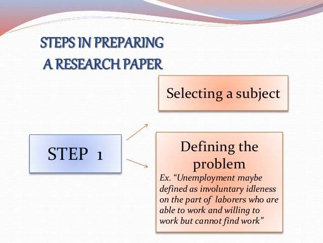 5 major steps in preparing a research paper