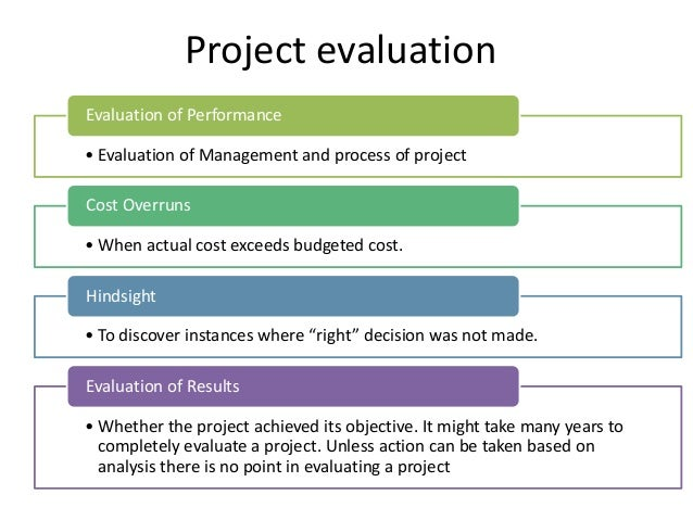 Steps in project control process – Project Evaluation