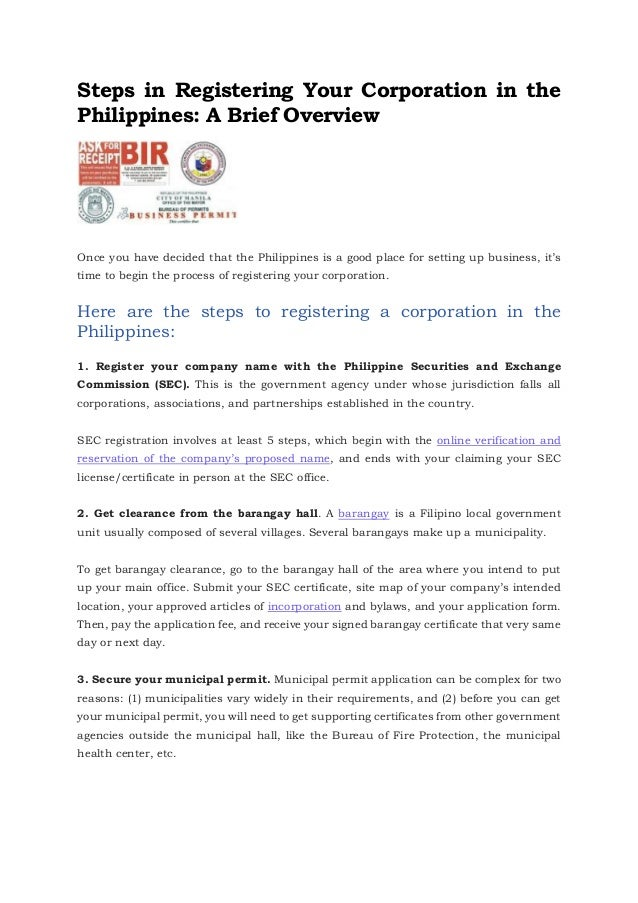 Incorporation Business Registration Requirements In The Philippines