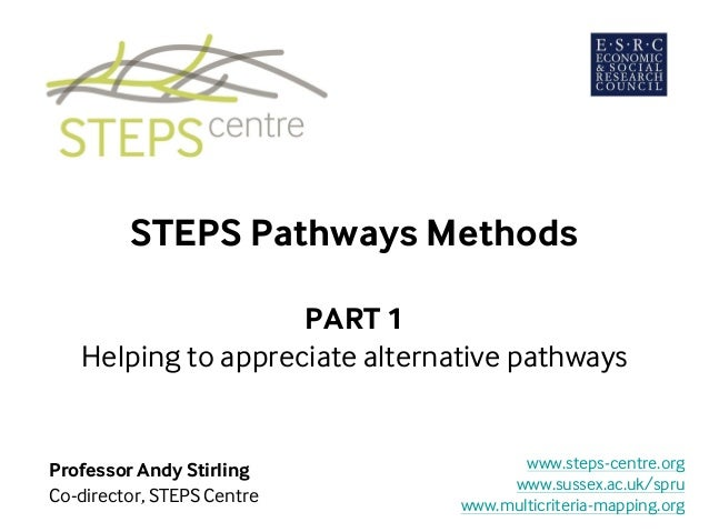 STEPS Pathways Methods PART 1 Helping to appreciate alternative pathways Professor Andy Stirling Co-director, STEPS Centre...
