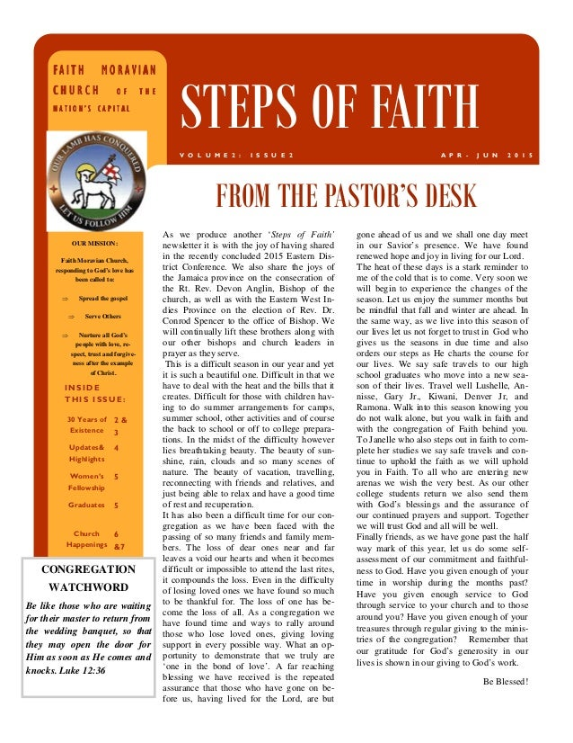 As we produce another 'Steps of Faith' newsletter it is with the joy of having shared in the recently concluded 2015 Easte...