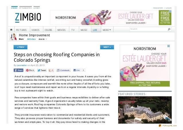 Steps On Choosing Roofing Companies In Colorado Springs