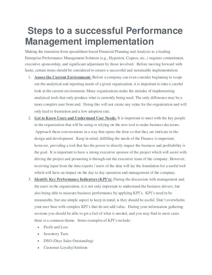 Steps to a successful PerformanceManagement implementationMaking the transition from spreadsheet-based Financial Planning ...