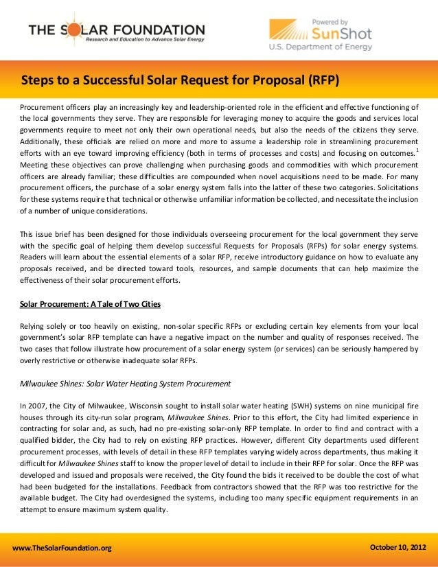 Steps To A Successful Solar Request For Proposal