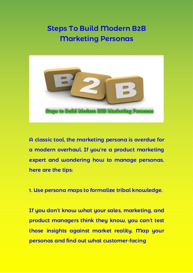 Steps to build modern b2b marketing personas for Marketing to builders