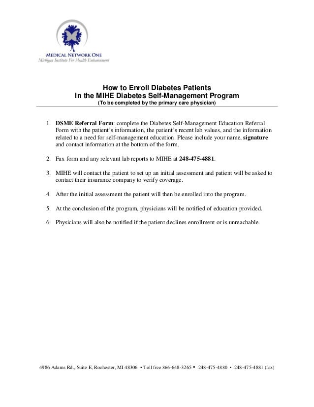 How to Enroll Diabetes Patients               In the MIHE Diabetes Self-Management Program                          (To be...