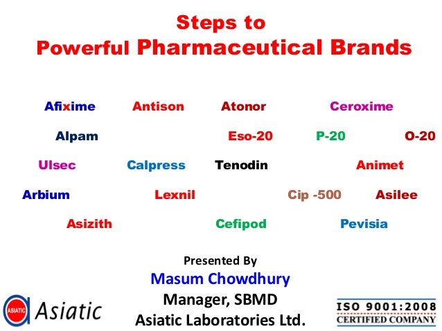 Steps to Powerful Pharmaceutical Brands Presented By Masum Chowdhury Manager, SBMD Asiatic Laboratories Ltd. Afixime Antis...