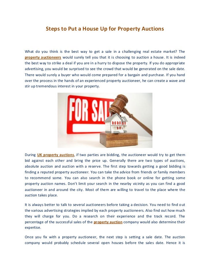 Steps to Put a House Up for Property AuctionsWhat do you think is the best way to get a sale in a challenging real estate ...