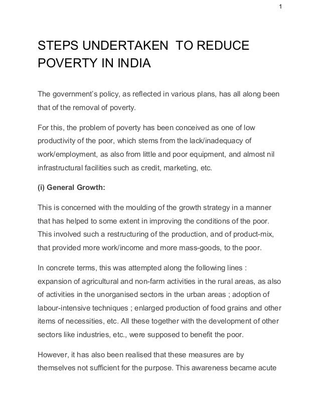 Essay on poverty eradication in india