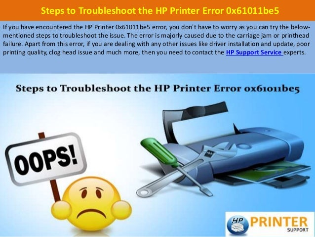 Steps to troubleshoot the hp printer error 0x61011be5