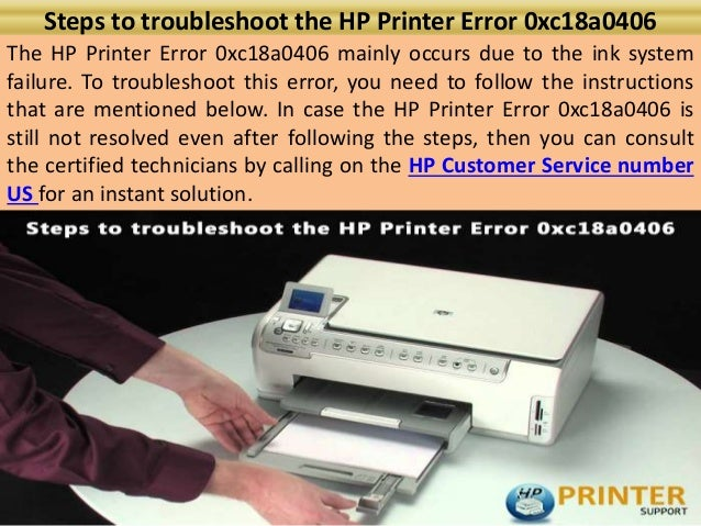 Steps to troubleshoot the hp printer error 0xc18a0406