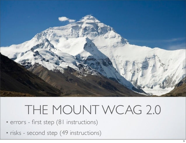 THE MOUNT WCAG 2.0•   errors - first step (81 instructions)•   risks - second step (49 instructions)                       ...