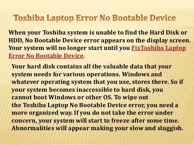 no bootable device toshiba windows 8