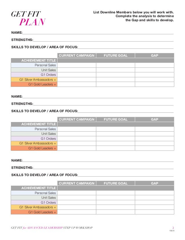 Avons Step Up Action Plan Worksheet – Action Plan Work Sheet