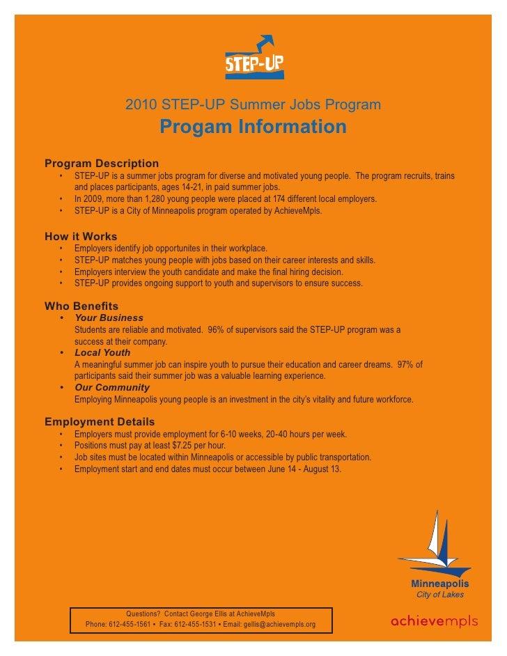 2010 STEP-UP Summer Jobs Program                                Progam Information Program Description   •   STEP-UP is a ...