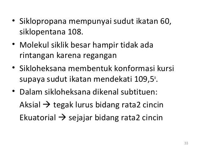 • Siklopropana mempunyai sudut ikatan 60, siklopentana 108. • Molekul siklik besar hampir tidak ada rintangan karena regan...