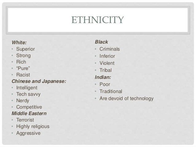 Examples of stereotypes in T.V drama