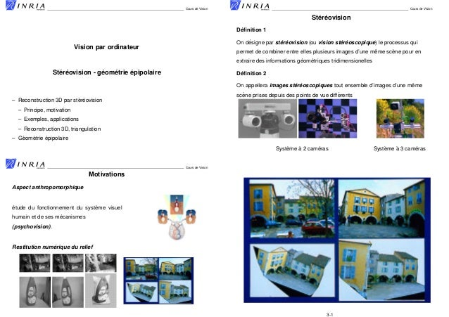 Cours de Vision  Cours de Vision  ´ ´ Stereovision ´ Definition 1 ´ ´ ´ ´ ´ On designe par stereovision (ou vision stereosc...