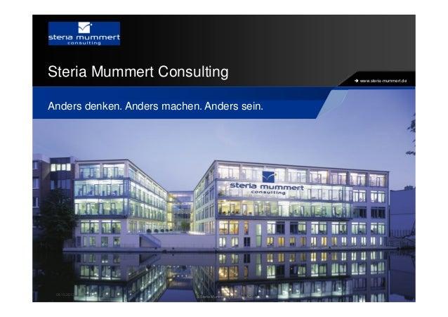 www.steria-mummert.de Steria Mummert Consulting Anders denken. Anders machen. Anders sein. 08.10.2013 © Steria Mummert Con...