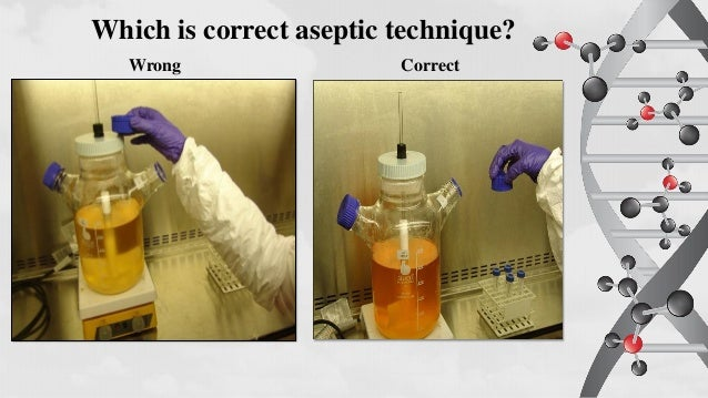 proper aseptic technique essay Preparation of media and reagents & aseptic technique and pure culture essay sample methods in molecular biology involve the use of living organisms (generally bacteria) and a wide variety of reagents, enzymes, and dna molecules.