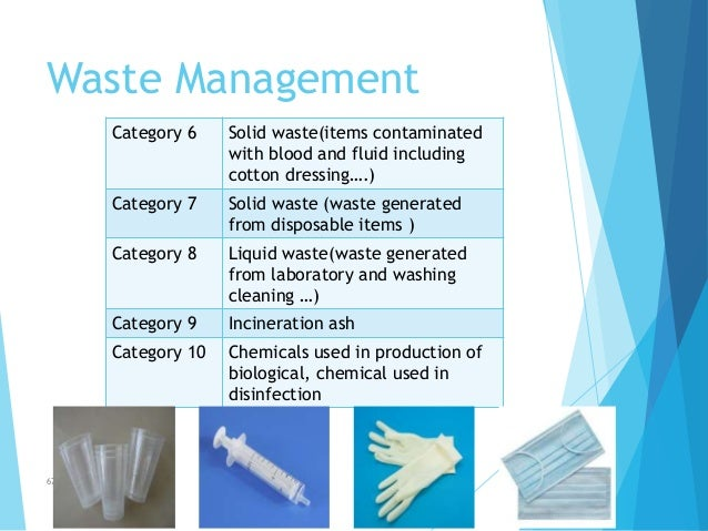 Waste Management Category 6 Solid waste(items contaminated with blood and fluid including cotton dressing….) Category 7 So...