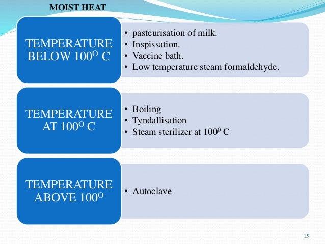 • pasteurisation of milk. • Inspissation. • Vaccine bath. • Low temperature steam formaldehyde. TEMPERATURE BELOW 100O C •...