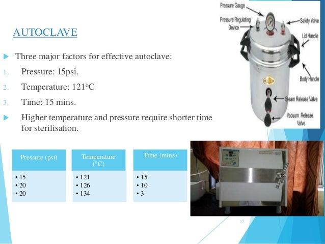 17 AUTOCLAVE  Three major factors for effective autoclave: 1. Pressure: 15psi. 2. Temperature: 121oC 3. Time: 15 mins.  ...