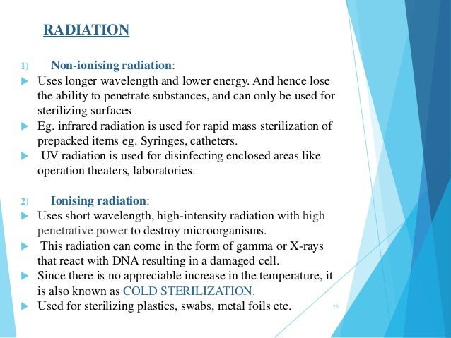 RADIATION 1) Non-ionising radiation:  Uses longer wavelength and lower energy. And hence lose the ability to penetrate su...