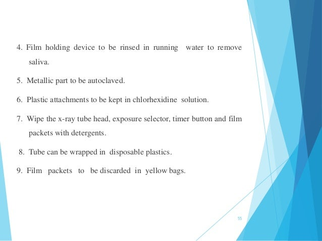 4. Film holding device to be rinsed in running water to remove saliva. 5. Metallic part to be autoclaved. 6. Plastic attac...