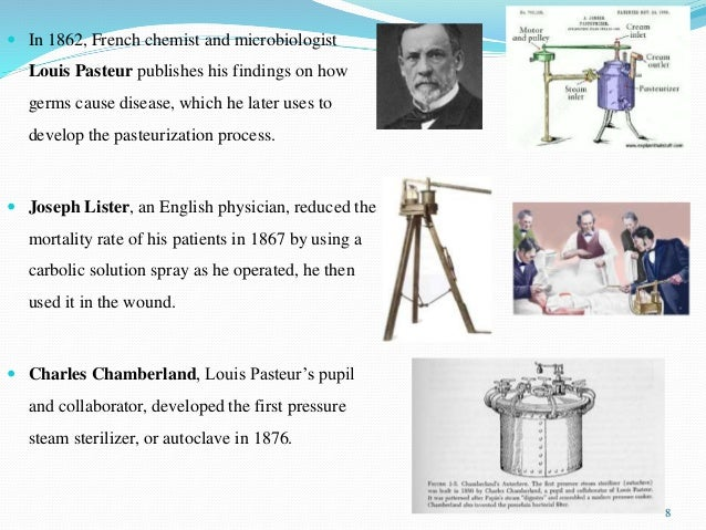  In 1862, French chemist and microbiologist Louis Pasteur publishes his findings on how germs cause disease, which he lat...