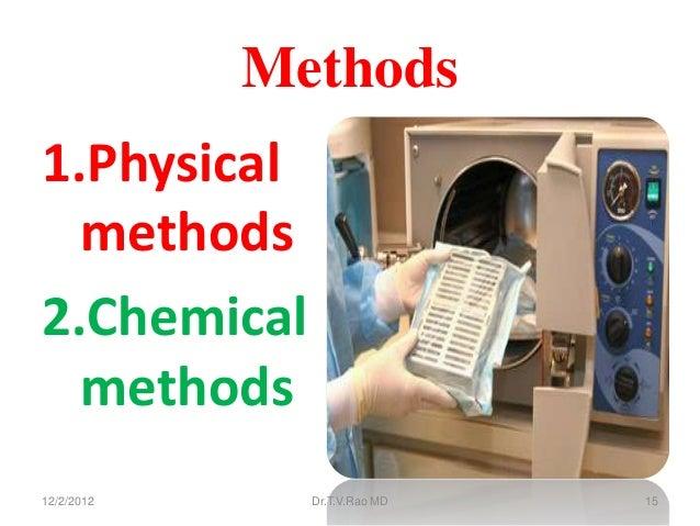 Methods1.Physical  methods2.Chemical  methods12/2/2012     Dr.T.V.Rao MD   15