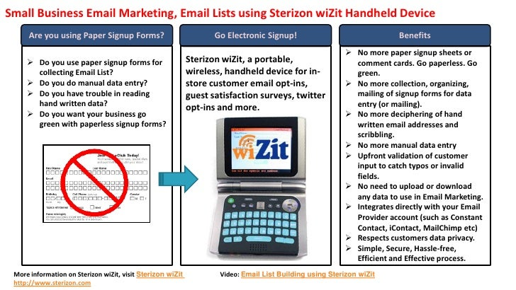 Small Business Email Marketing, Email Lists using Sterizon wiZit Handheld Device       Are you using Paper Signup Forms?  ...