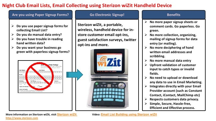 Night Club Email Lists, Email Collecting using Sterizon wiZit Handheld Device       Are you using Paper Signup Forms?     ...